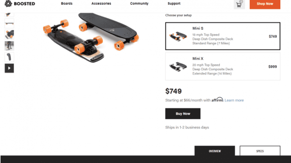 Boosted mini S overview and specs