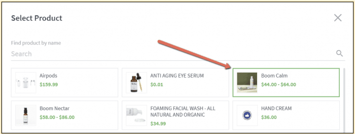 In app pop up to select a product for your product page layout.