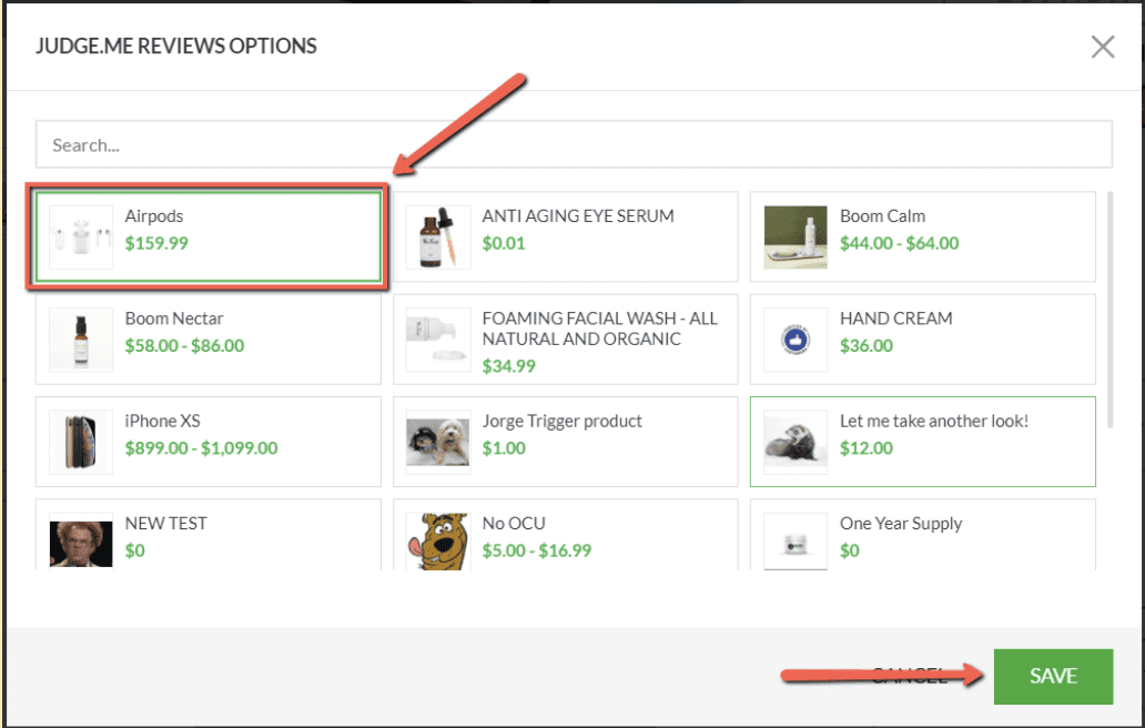 Select your product and click save.