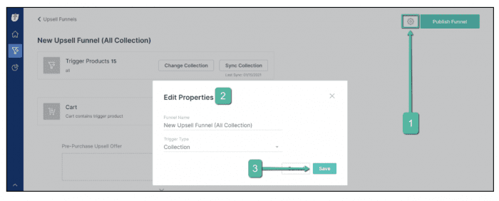 Edit funnel properties in Zipify One Click Upsell