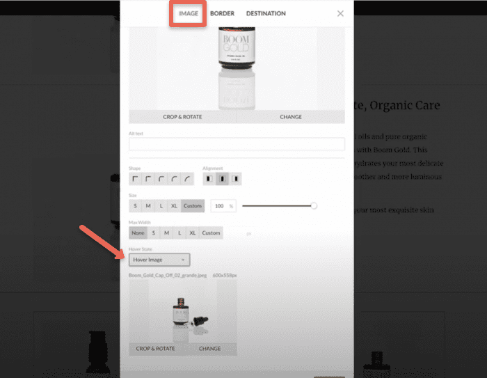 Hovr image option in image pop-up