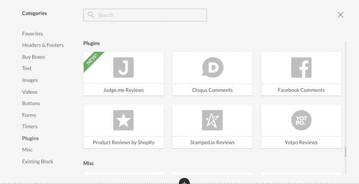 Image of review blocks available in Zipify Pages