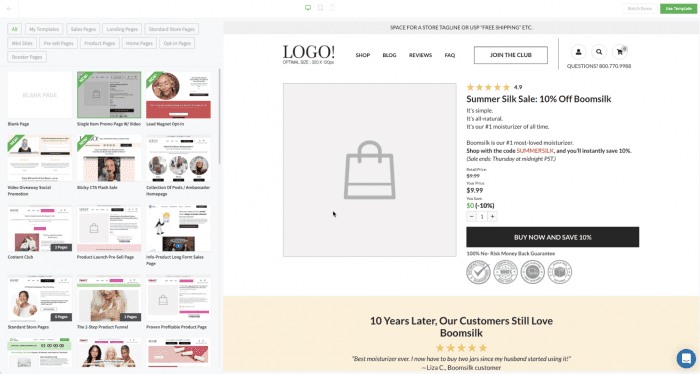 Image of Rich's funnel with pre-purchase upsell highlighted