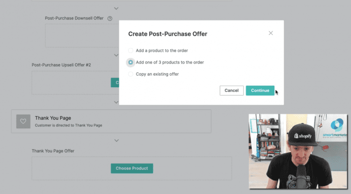 Display of the new post-purchase offer option.